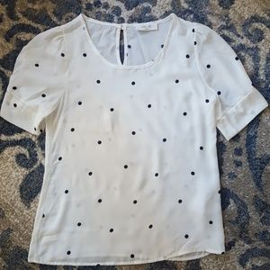 Peach Love California Small White polka dot Blouse